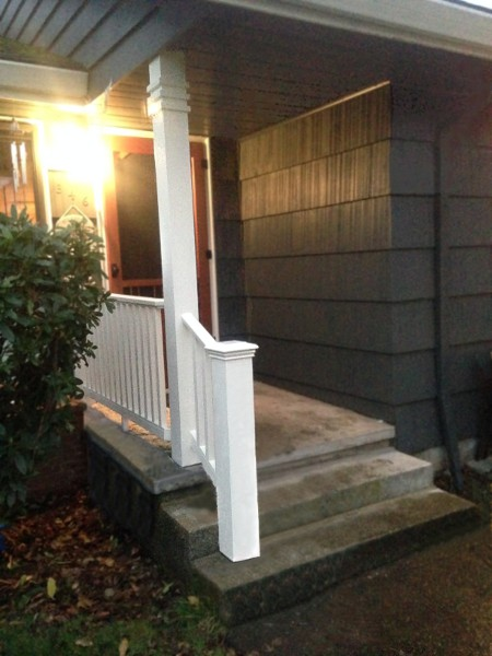 How to build a porch railing on concrete